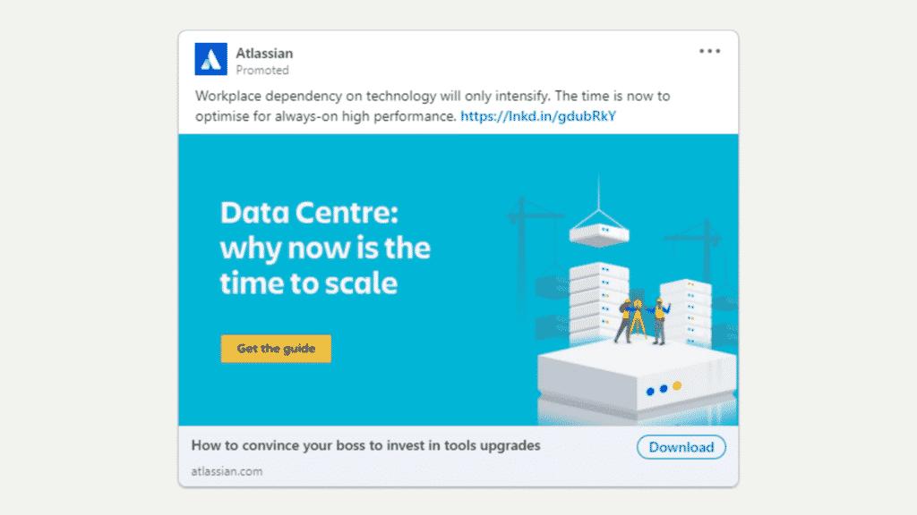 Linkedin Anzeigen Beispiel fur Ebook Download Atlassian