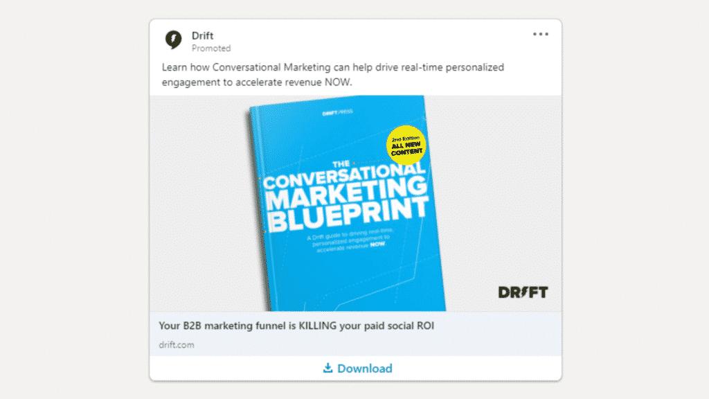 Linkedin Anzeigen Beispiel fur Ebook Download Drift