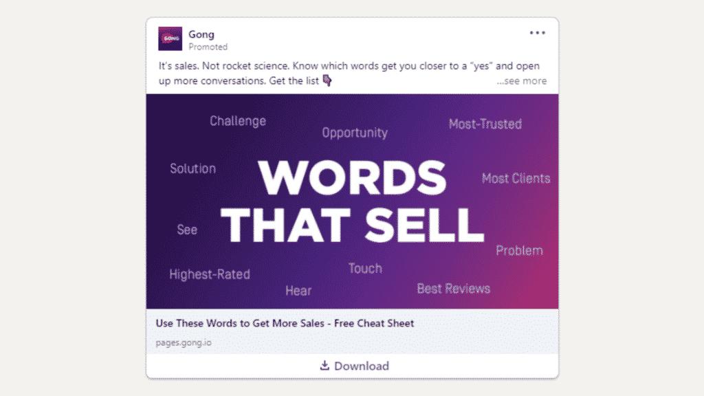 Linkedin Anzeigen Beispiel fur Ebook Download Gong