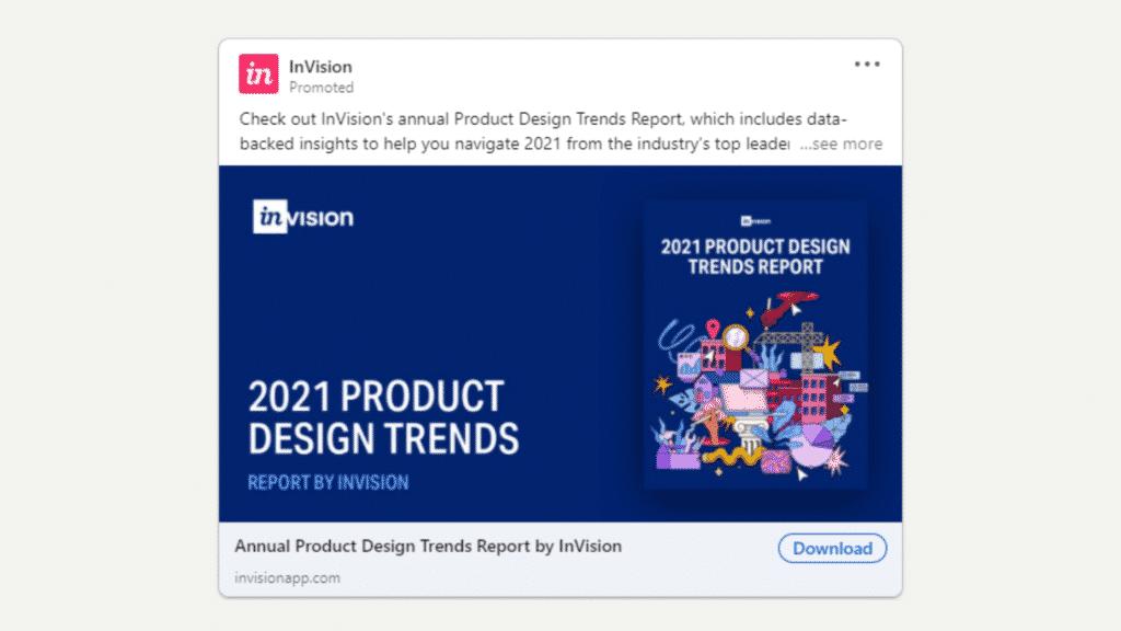 Linkedin Anzeigen Beispiel fur Ebook Download Invision