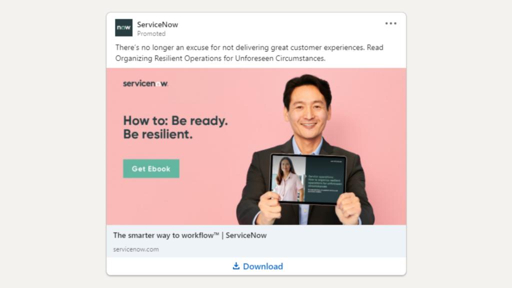 Linkedin Anzeigen Beispiel fur Ebook Download ServiceNow