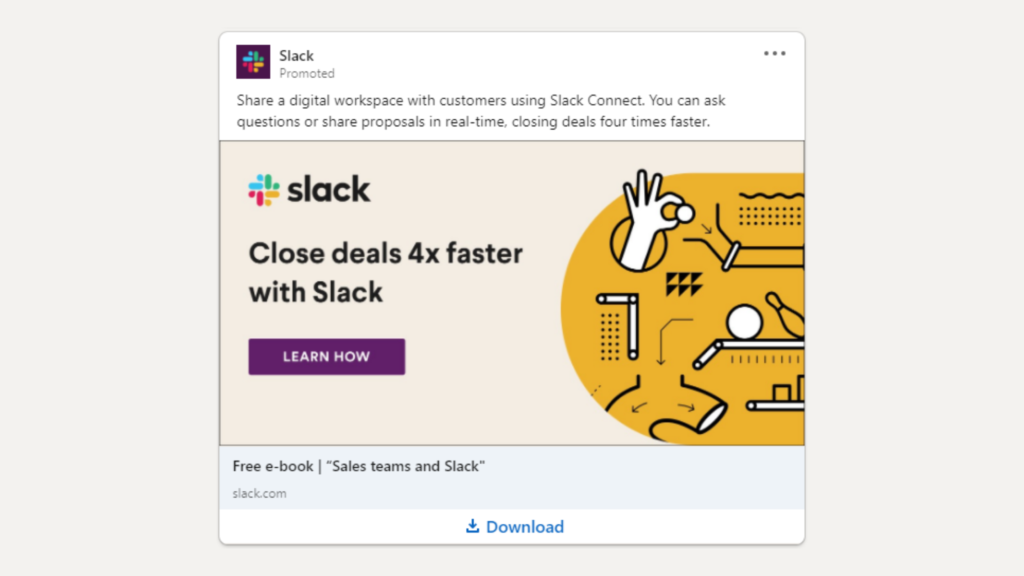 Linkedin Anzeigen Beispiel fur Ebook Download Slack