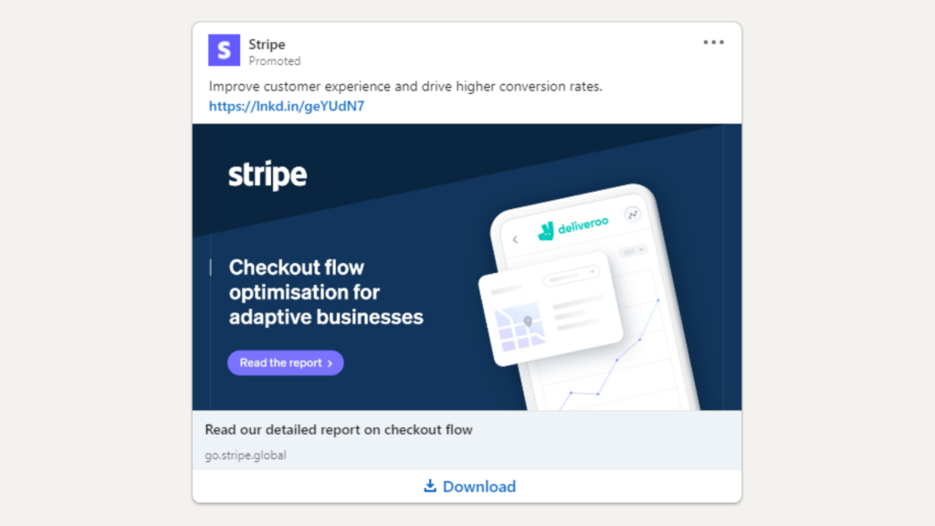 Linkedin Anzeigen Beispiel fur Ebook Download Stripe