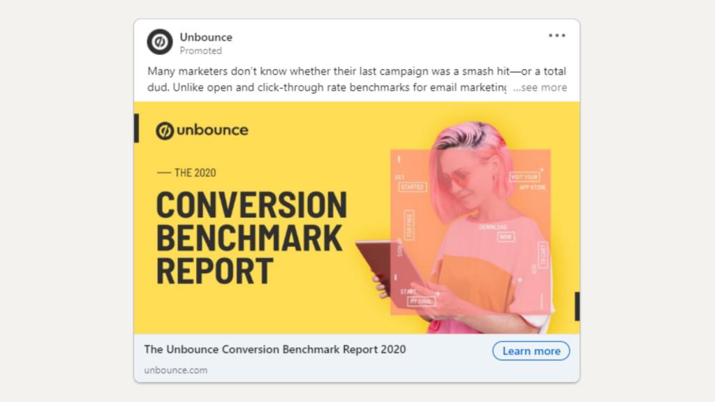 Linkedin Anzeigen Beispiel fur Ebook Download Unbounce
