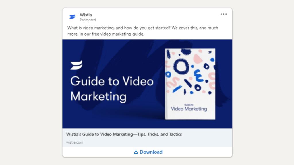 Linkedin Anzeigen Beispiel fur Ebook Download Wistia