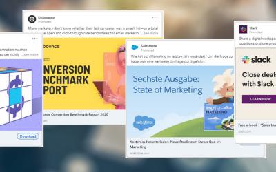 LinkedIn Werbeanzeigen: 15+ Beispiele für Ebook Download Ads von B2B Software Unternehmen